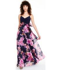 eliza j petite floral-print bow gown