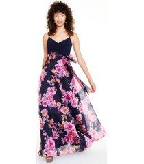 eliza j petite floral-print ball gown
