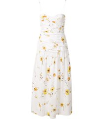 bec + bridge colette floral midi dress - white
