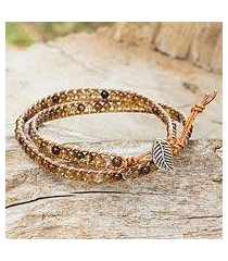 agate and leather wrap bracelet, 'hill tribe warmth' (thailand)