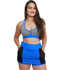 shorts saia fitness corpusfit life com bolso - azul e preto - azul/preto - feminino - dafiti