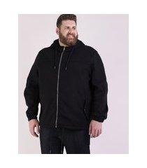 jaqueta masculina plus size com capuz e bolsos preta