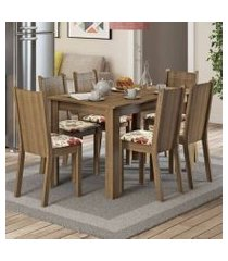 conjunto sala de jantar madesa maris mesa tampo de madeira com 6 cadeiras rustic/floral hibiscos
