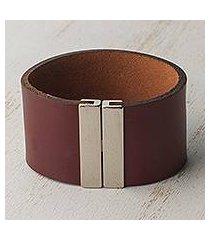 leather wristband bracelet, 'mahogany samba' (brazil)