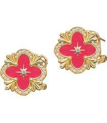 22k gold vermeil, cubic zirconia & enamel clover stud earrings