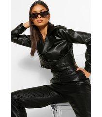 buckle detail faux leather jacket, black