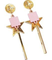 aretes estrellas rosados largos  ar-10982