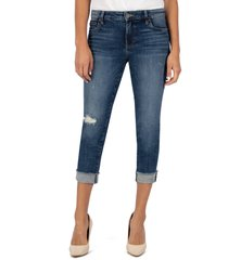 women's kut from the kloth amy ripped straight leg roll cuff jeans