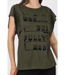 camiseta dimy lettering flocado verde - kanui