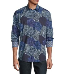 robert graham men's floral shirt - blue - size m