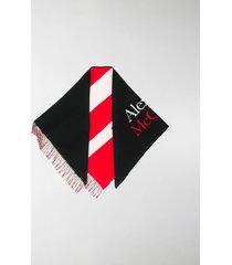 alexander mcqueen logo-print striped shawl scarf