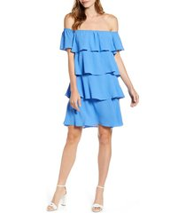 women's gibsonlook x hot summer nights natalie off the shoulder ruffle dress, size small - blue (regular & petite) (nordstrom exclusive)