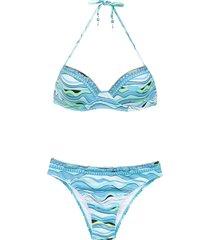 amir slama embroidered bikini - blue