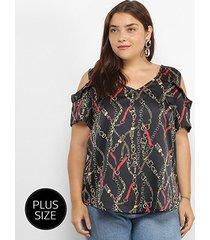 blusa lemise open shoulder correntes plus size feminina