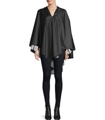 shedrain women's hooded rain poncho - black