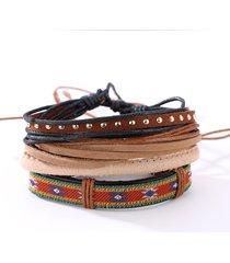 braccialetti di cuoio intrecciati regolabili del braccialetto unisex casuale per gli uomini il regalo per lui lei