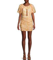 for love & lemons women's ryder sequin mini dress - tangerine - size xs