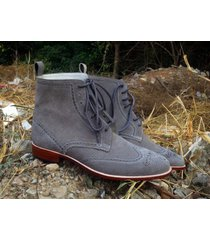 handmade win tip gray ankle high boots, suede leather casual dress boots men new