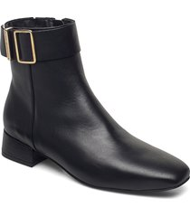 leather square toe mid heel boot shoes boots ankle boots ankle boot - flat svart tommy hilfiger