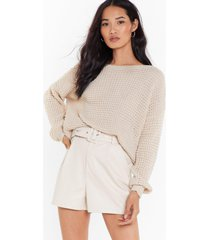 womens crew neckline and ribbed edges knit sweater - oatmeal