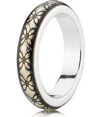 anel de prata e esmalte amarelo