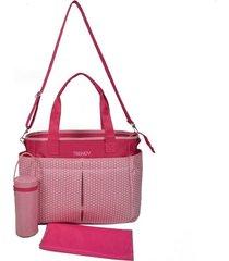 bolso maternal rosa porta mamadera cambiador trendy