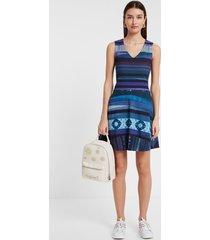 arty short dress - blue - m