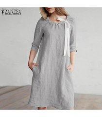 zanzea mujeres longitud de la rodilla vestido del tamaño corto mini vestido de tirantes de algodón de la pajarita plus -gris claro