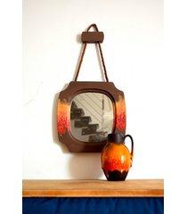 lustro drewniane boho folk indy lusterko