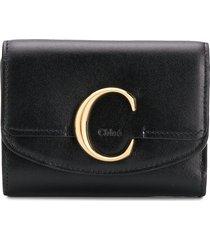 chloé chloé c mini trifold wallet - black
