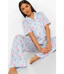 mix & match kerst flamingo pyjama broek, blue