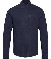 clive herringb shirt skjorta casual blå lexington clothing