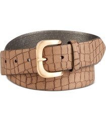 dkny matte croc-embossed belt
