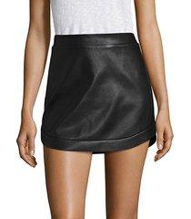 kanya curved hem leather mini skirt