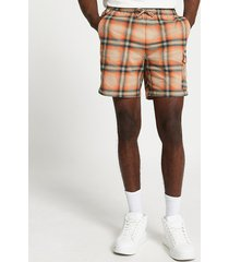 river island mens orange check print skinny fit shorts