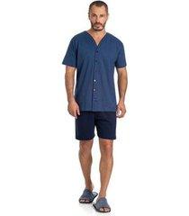 pijama masculino curto aberto toque slepwear azul 07.02.010 - masculino