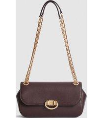 reiss lexi medium - leather shoulder bag in plum, womens