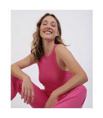 regata feminina mindset canelada decote redondo alças médias rosa
