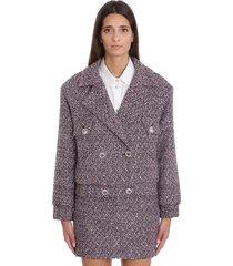 alessandra rich blazer in rose-pink wool