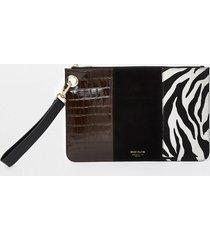 river island womens black suede zebra print clutch handbag