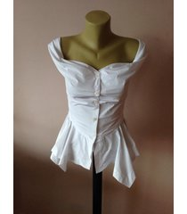 steampunk corset asymmetric top/ white taffeta blouse/gothic sexy slim fitted