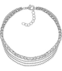 essentials multi-row crystal ankle bracelet in fine silver-plate