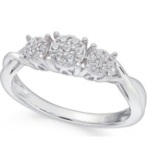 diamond trio cluster promise ring (1/6 ct. t.w.) in 10k white gold
