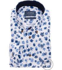 ledub overhemd modern fit blauw wit dessin