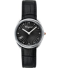 cuir stainless steel & leather-strap watch