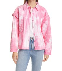 women's loveshackfancy adelade tie dye jacket, size x-large - pink
