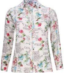 camisa flores y letras color azul, talla 22