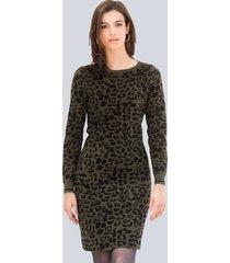 gebreide jurk alba moda kaki::zwart