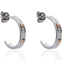 orecchini a cerchio in acciaio e strass con dettagli oro rosa per donna