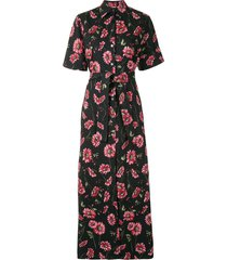 adam lippes daisy-print shirt maxi dress - black